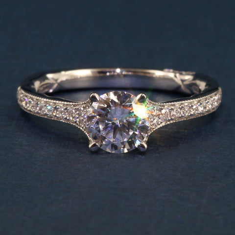 A Jaffe Art Deco Collection Engagement Ring Accented Solitaire Jaffe Style MES738Q for 1CT