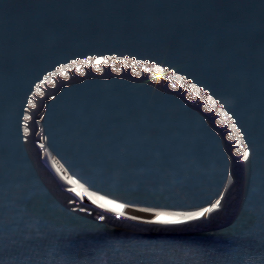 A Jaffe Delicate Intricate Quilted Wedding or Anniversary Diamond Band .31tdw