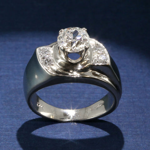 Engagement Ring With 1.38ct Old Mine Cut Diamond Center and Diamond Accents