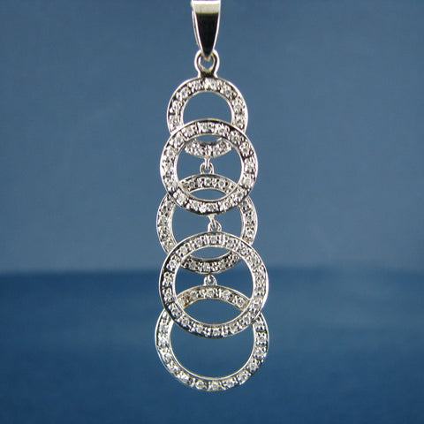 Beautiful 14K White Gold Diamond Eternity Circle Pendant - Unique One of Kind Statement Piece