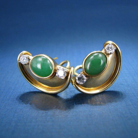 18K Yellow Gold Green Jade and Diamond Earrings with Omega Clip Backing