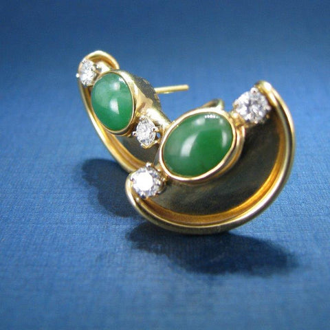 Distinctive 18K Yellow Gold Green Jade and Diamond Earrings with Omega Clip Backing