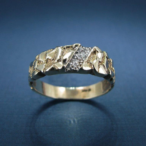 Mid Century Modern 14 Karat Yellow Gold and Diamond Ring - Men's Ring
