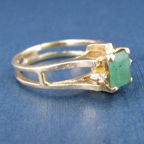 Beautiful 14K Yellow Gold Emerald Engagement or Anniversary Ring