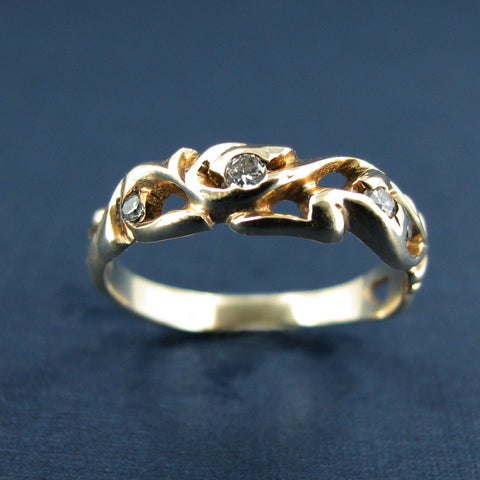 14K Yellow Gold and Diamond Engagement or Anniversary Ring - Estate Jewelry