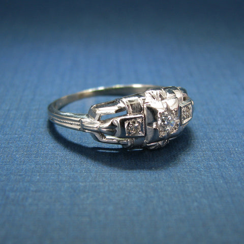 Beautiful 14K White Gold Diamond and CZ Art Deco Style Engagement or Anniversary Ring