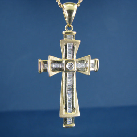 Mid Century Style Modernistic 14k Yellow and White Gold Cross Pendant with Baguette Cut Diamonds