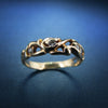 Free-form organic vintage diamond band in yellow gold