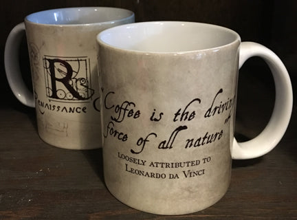 Leonardo da Vinci Driving Force Quote Mug