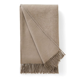 Beige Jeffery Wool Cashmere Throw