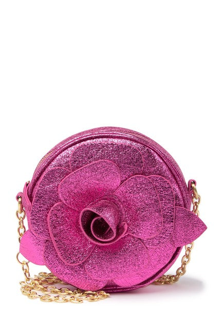 Betsey Johnson Rosette Glitter Fuchsia Crossbody Bag