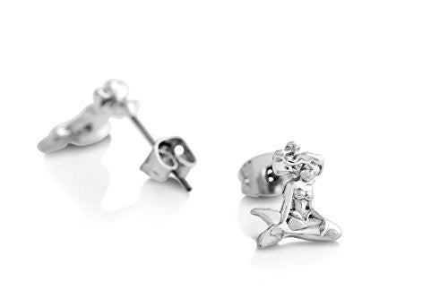 Disney Couture Little Mermaid Ariel Stud Earrings - White Gold Plated