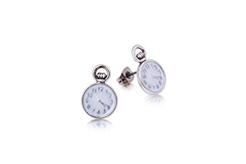 Disney Couture Alice in Wonderland Pocket Watch Earrings - White Gold Plated