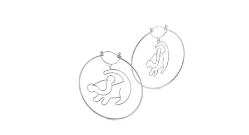 Disney Couture The Lion King Simba Outline Hoop Earrings - White Gold Plated