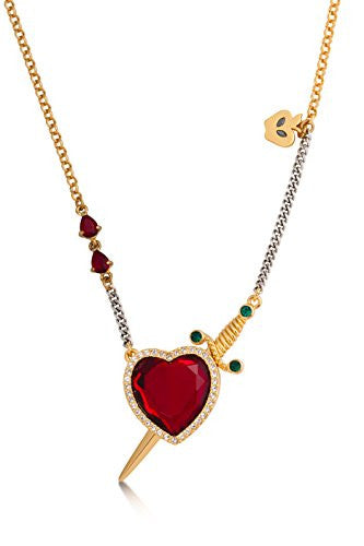 Disney Couture Snow White Red Crystal Heart and Dagger Necklace