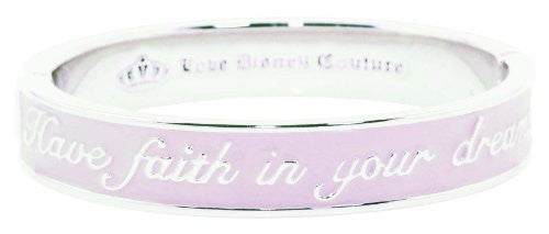 Disney Couture Cinderella Dreams Pink Bangle Bracelet - White Gold Plated