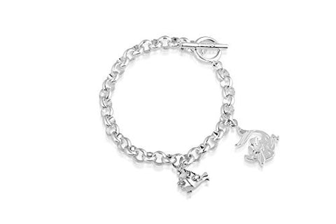 Disney Couture Little Mermaid Ariel and Flounder Bracelet - White Gold Plated