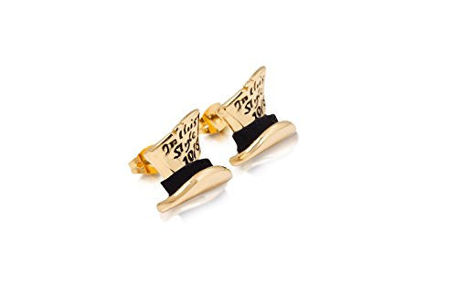 Disney Couture Alice in Wonderland Mad Hatter Stud Earrings - Yellow Gold Plated