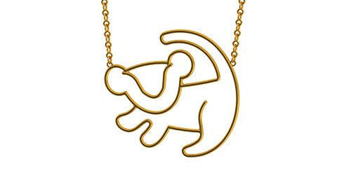 Disney Couture The Lion King Simba Outline Necklace - Yellow Gold Plated