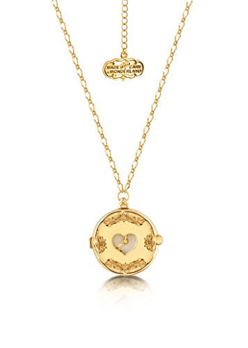 Disney Couture Alice in Wonderland Clock Necklace - Yellow Gold Plated