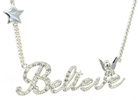Disney Couture Tinker Bell Believe Stars Necklace - White Gold Plated