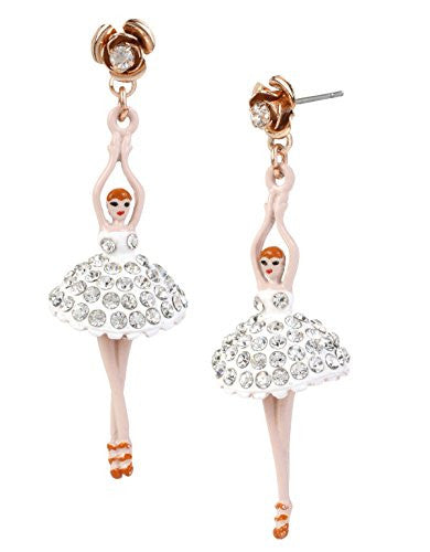 Betsey Johnson Ballerina Rose Dancer Drop Earrings