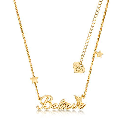 Disney Couture Tinker Bell Believe Necklace - Yellow Gold Plated