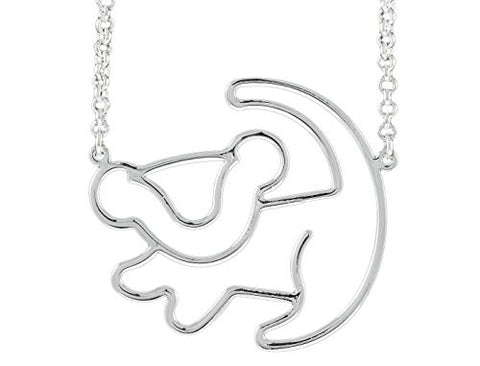 Disney Couture The Lion King Simba Outline Necklace - White Gold Plated