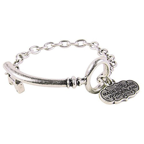 Disney Couture Alice in Wonderland Curved Key Bracelet - White Gold Plated