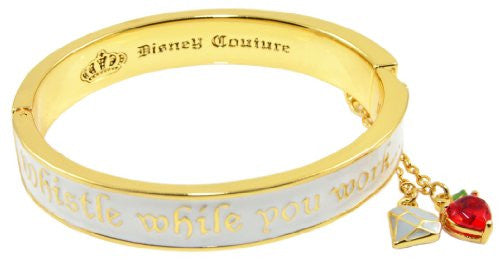 Disney Couture Snow White Seven Dwarves Whistle While You Work Bangle Bracelet - Yellow Gold Plated