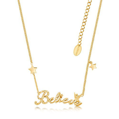 Disney Couture Tinker Bell Believe Stars Necklace - Yellow Gold Plated