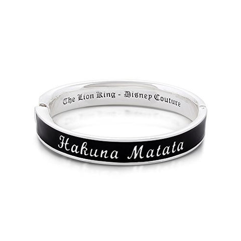 Disney Couture The Lion King Hakuna Matata Black Bangle Bracelet - White Gold Plated
