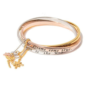 Disney by Couture Kingdom Icon Tinker Bell Tri Color Interlocking Bangle Bracelet