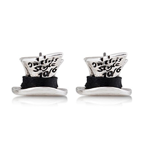 Disney Couture Alice in Wonderland Mad Hatter Stud Earrings - White Gold Plated