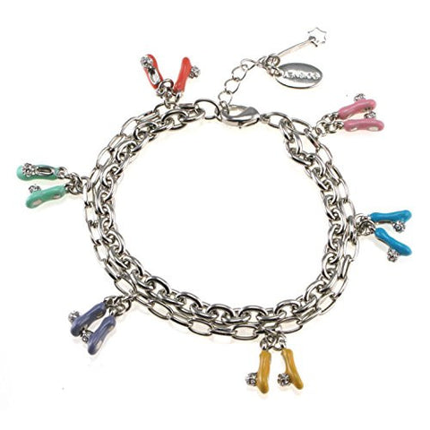 Disney Couture Tinker Bell Crystal Slippers Charm Bracelet - Silver Plated