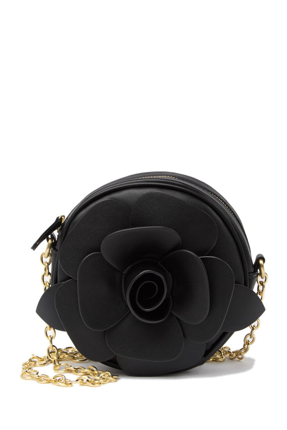 Betsey Johnson Rosette Black Crossbody Bag
