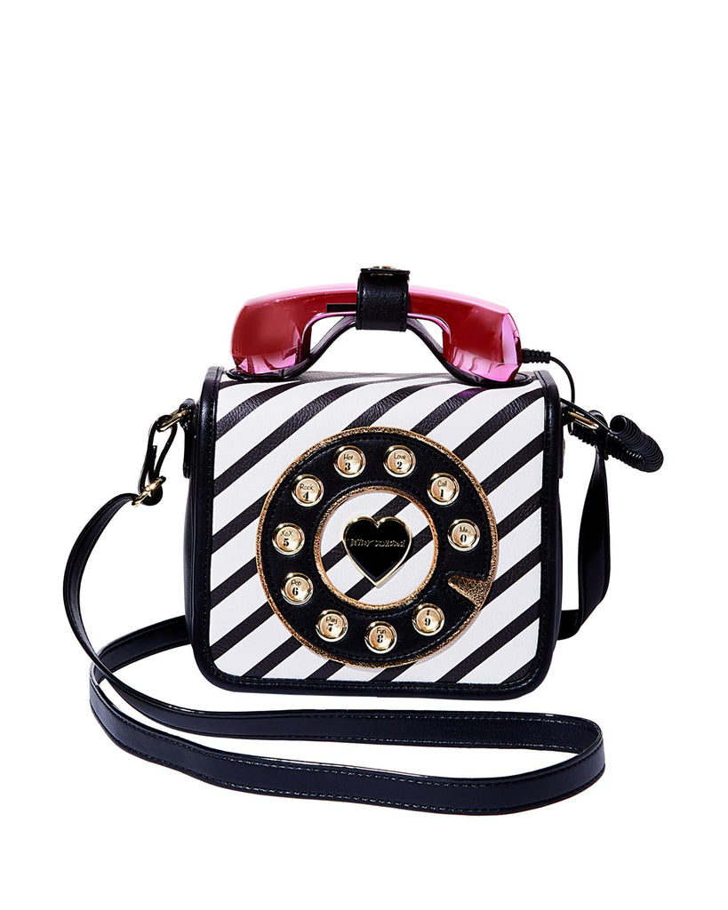 Betsey Johnson Calling All Girlfriends Phone Striped Crossbody Bag