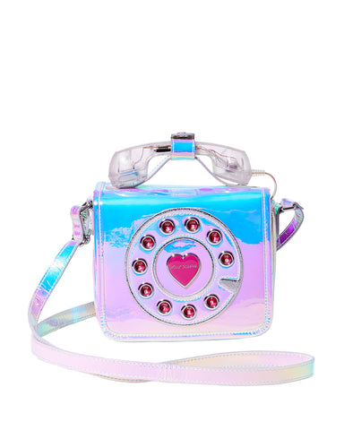 Betsey Johnson Calling All Girlfriends Phone Metallic Crossbody Bag