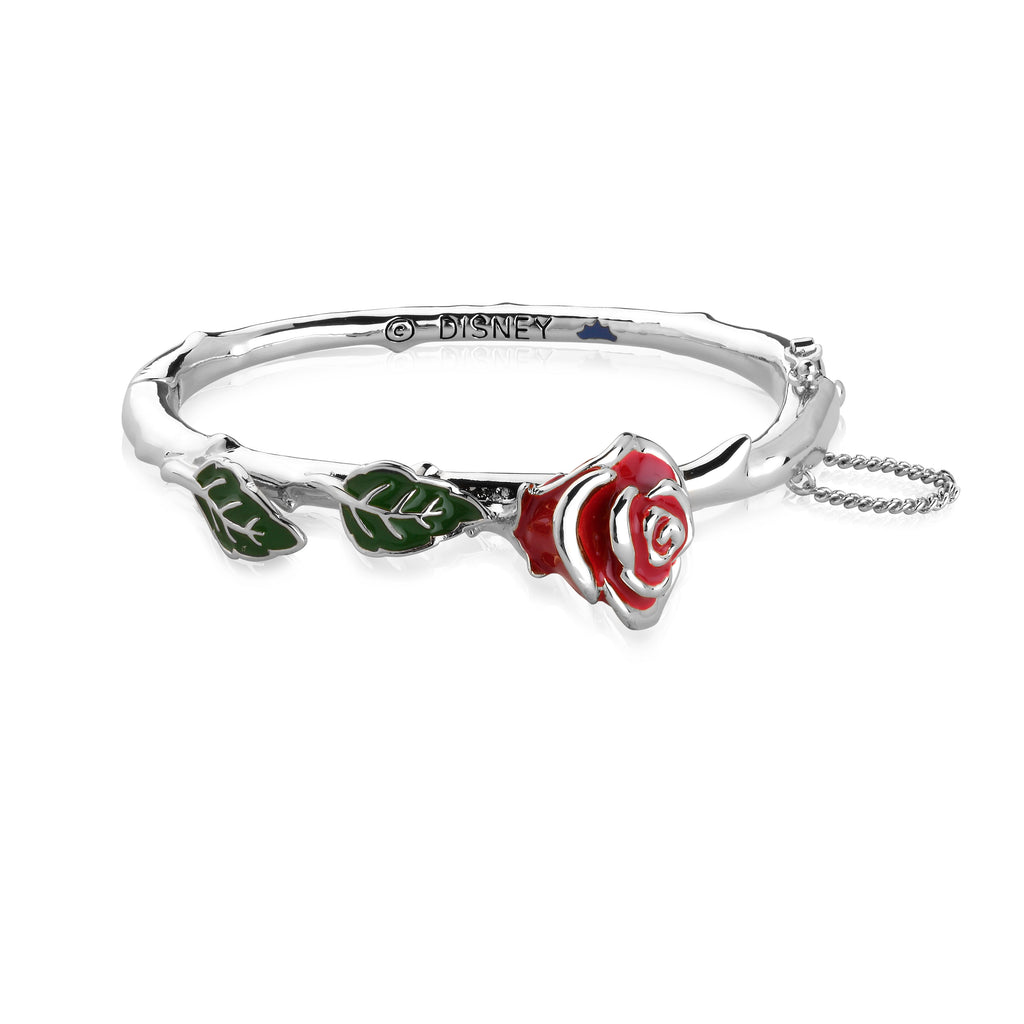 Disney by Couture Kingdom Beauty and the Beast Enchanted Rose Bangle - White Gold Plated