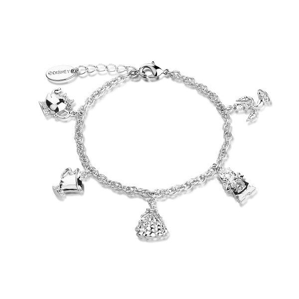 Disney Couture Beauty and the Beast Charm Bracelet - White Gold Plated