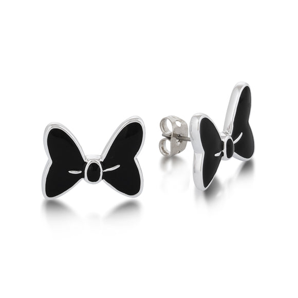 Disney by Couture Kingdom Minnie Mouse Black Bow Stud Earrings