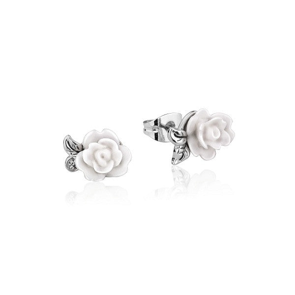 Disney Couture Beauty and the Beast Enchanted Rose Stud Earrings - White Gold Plated