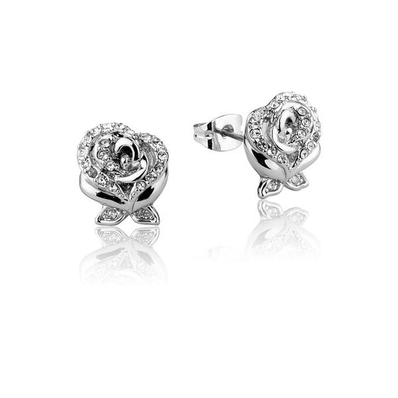 Disney Couture Beauty and the Beast Enchanted Rose Crystal Stud Earrings - White Gold Plated