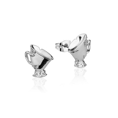 Disney Couture Beauty and the Beast Chip Tea Cup Stud Earrings - White Gold Plated
