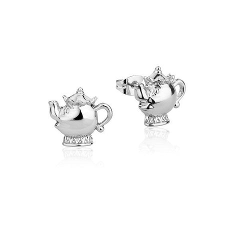 Disney Couture Beauty and the Beast Mrs. Potts Stud Earrings - White Gold Plated