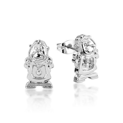 Disney Couture Beauty and the Beast Cogsworth Stud Earrings - White Gold Plated