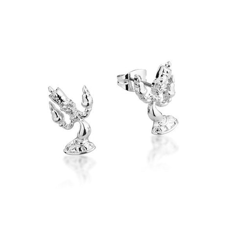 Disney Couture Beauty and the Beast Lumiere Stud Earrings - White Gold Plated