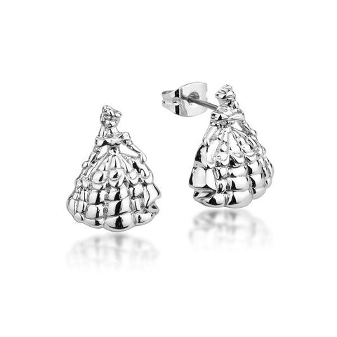 Disney Couture Beauty and the Beast Princess Belle Stud Earrings - White Gold Plated