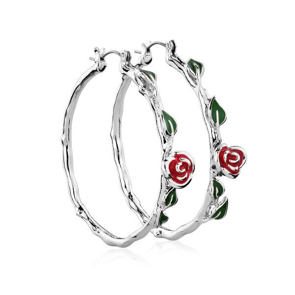 Disney Couture Beauty and the Beast Rose Hoop Earrings - White Gold Plated