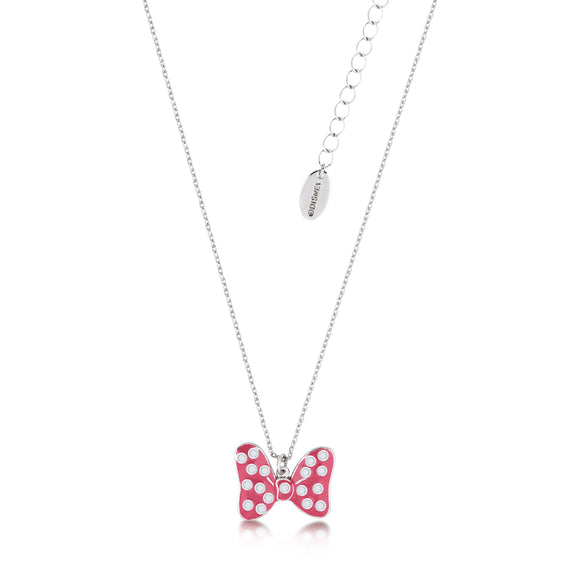 Disney by Couture Kingdom Minnie Mouse Pink Enamel Polka Dot Bow Necklace